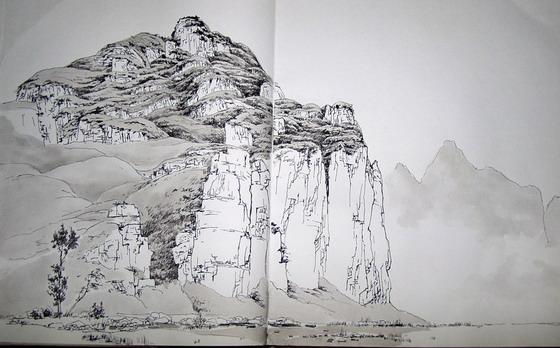 山水风景画铅笔画