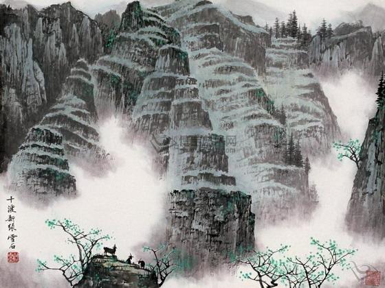 """他的一种独具风貌的桂林山水画法被称为""""白派山水""""."""